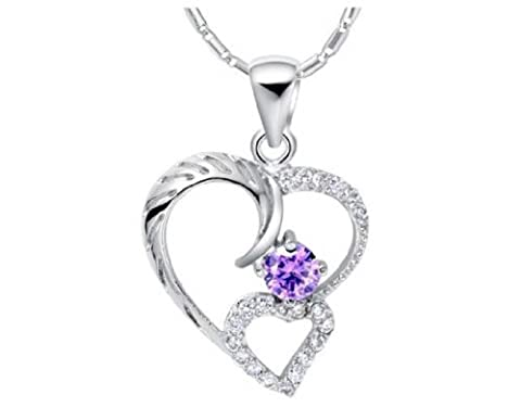findout Rhodium Plated 925 Silver Austria Amethyst Crystal heart waterdrop pendant Necklace (Amethyst 228)