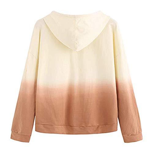 Tooth Frauen Hoodie Gedruckt Patchwork Sweatshirt Langarm Pullover Tops Bluse Oberteile 2019(Gelb,S) -