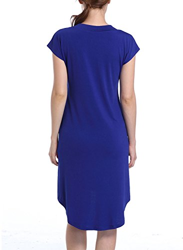 ACHICGIRL Women's Casual V Neck High Low Solid Dress Blue