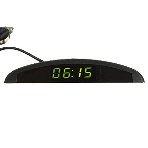 YONGYAO Horloge LED Numérique Auto Voltmètre Thermomètre 12V 3 en 1 Fonction-Vert
