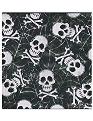 Haunted Hollow Halloween Tischdecke PEVA Vinyl Flanell Rückseite, Totenkopf und gekreuzte Knochen, Vinyl, Black, White, Grey, Gray, 52 x 70 Rectangle