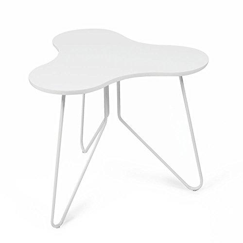 Tuoni Talento Tavolino in Metallo e Legno Laccato, Bianco, 58 x 58 x ...