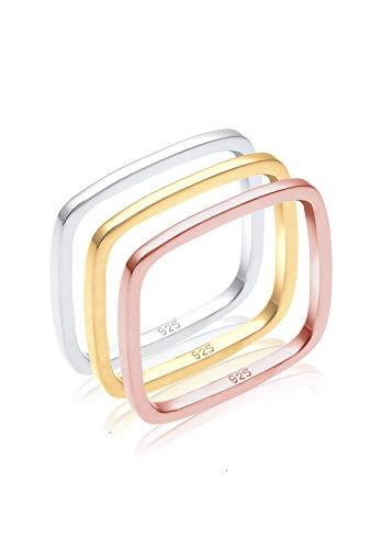 Elli Damen-Ring Tri Color Statement Viereck Set vergoldet silber 925 Gr. 52 (16.6) 0602451216_52