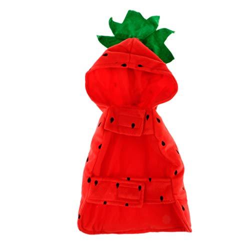 (Homyl Erdbeere Hundemantel Hundejacke Kleine Hunde Katzen Welpen Hoodie Cosplay Kostüm für Halloween und Weihnachten)