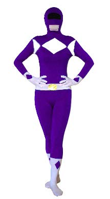 Erwachsene Power Kostüm Ranger Black Für - FYBR Purple Power Ranger SuperSkin Kostüm - Erwachsene Unisex Herren & Frauen Second Skin & Zentai Onesie Kleidung Outfit Halloween Lycra, violett, Extra-Large