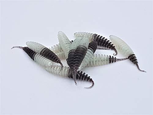 ProBaits Custom Lures Mini Troutworm Mega Soft/Knoblauch- Flavour in 3,8 cm Länge/Farbe: Glow- Schwarz