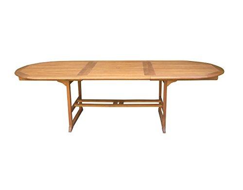 PEGANE Table Ovale Extensible en Bois Exotique Coloris Naturel - Dim : 200/280 x 110 cm