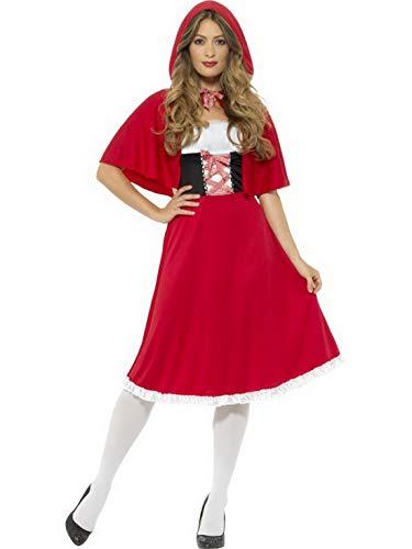 Halloweenia - Damen Frauen Rotkäppchen Kostüm mit langem Kleid mit Kapuze, perfekt für Karneval, Fasching und Fastnacht, M, Rot