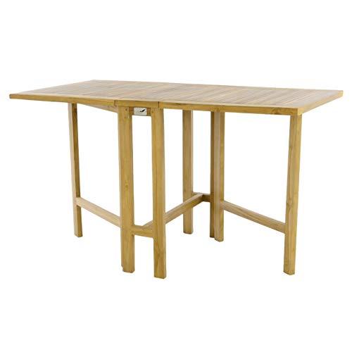 Divero GL05522 Klapptisch Balkontisch Gartentisch Esstisch Teak Holz Natur unbehandelt Tisch für Terrasse Balkon Wintergarten witterungsbeständig massiv klappbar 130x65 cm, Braun -