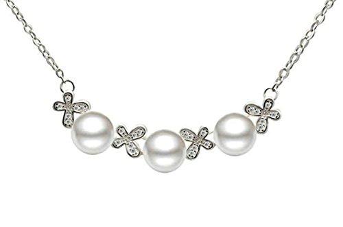 Epinki 925 Sterling Silber Damen Halskette, Schmetterling Perle Form Anhänger Statementkette Poliert Silberkette Weiß 0.8x4.5 CM mit Zirkonia -