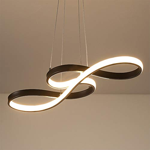 LED Pendelleuchte Esstisch Hängelampe Dimmbar Deckenlampe Modern Deckenleuchte Höhenverstellbar Hängeleuchte Pendellampe Esszimmer Schwarz Kronleuchter mit den Fernbedienung Schlafzimmerleuchte