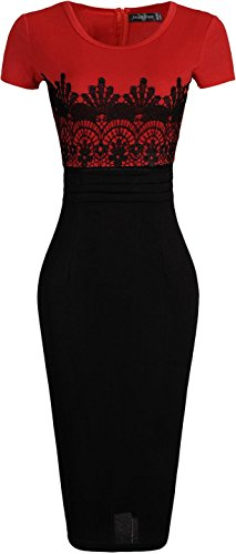 jeansian Damen Kurze Sleeves Spitze Stitching Bodycon Dress WKD269 White&Black