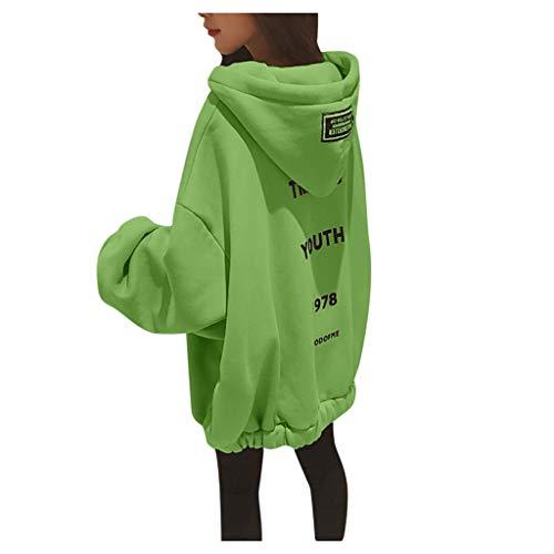 Winter Hoodie FüR Frauen - Damen Hoodies Damen Langarm Pullover Tops Elegante Brief Druck Kapuzen Sweatshirt(Grün,4XL)
