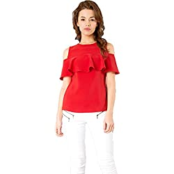 J B Fashion Women American Creap Musterd Color Top (red, Small)