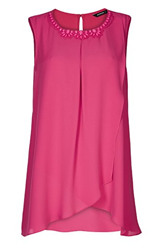 Roman Originals Damen Bestickter Ausschnitt Wickel Top Fuchsia Rosa