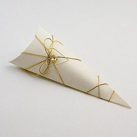 Cono/cajas de regalo de boda Bustina–marfil seda (PK 10en embalaje plano, sin decoraciones)