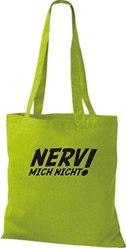 Tote Bag Shirtinstyle Non Mi Infastidisce! Borsa In Cotone, Vari Colori Verde Lime