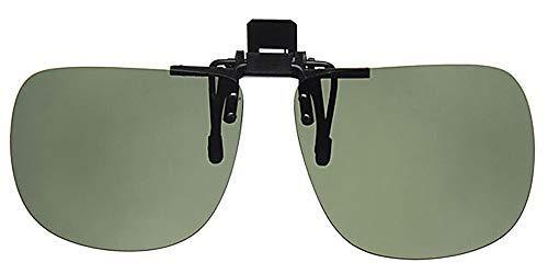 Polarisierte, große Sonnenbrille zum Aufstecken von Eyewear World, inkl. Halskordel in Gelb, mit entspiegelten Gläsern in Grün, CE-zertifiziert