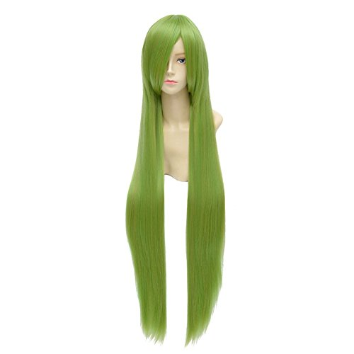 LanTing Cosplay Perücke Cosplay Full Wig Heat Resistant Fiber 100cm Green Mix Gold Cosplay Party Fashion Anime Human Costume Full wigs Synthetic Haar Heat Resistant Fiber