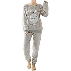 Elonglin Ensemble de Pyjama 2 pièces avec Manches Longues Femme Fille Hiver Combinaison Pyjamas Extra Doux Cartoon Imprimé en Flanelle Vêtements de Nuit Noël Gris Totoro Taille FR 38 (Asie M)
