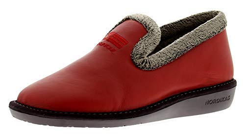 Nordikas 305/4 Cuir (Ohio) Femmes Chaussons Rouge Tailles UK 3-8
