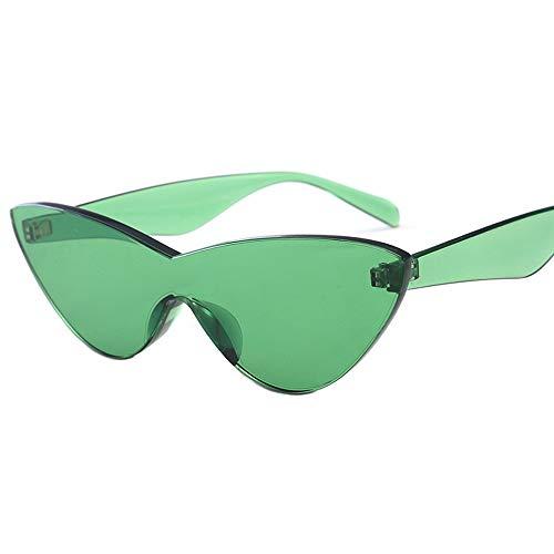 HUWAIYUNDONG Sonnenbrillen,One-Piecesunglasses Women Niedliche Sexy Cat Eye Vintage Billige Sonnenbrille Grün