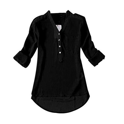 SHOBDW Damen Chiffon Bluse V-Ausschnitt Henley Shirt Casual Langarm Oberteile Frauen Frühling Herbst Freizeithemd Blusen -