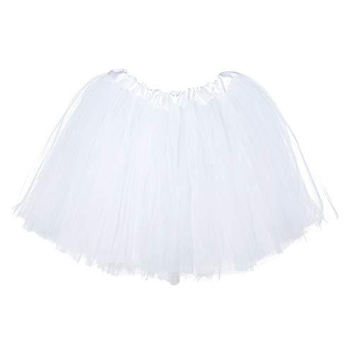 Ksnrang Mädchen Tütü Rock Minirock 3 Lagen Petticoat Tanzkleid Dehnbaren Mini Skater Tutu Rock Erwachsene Ballettrock Tüllrock für Party Halloween Kostüme Tanzen (Weiß, 2-8 Jahre)