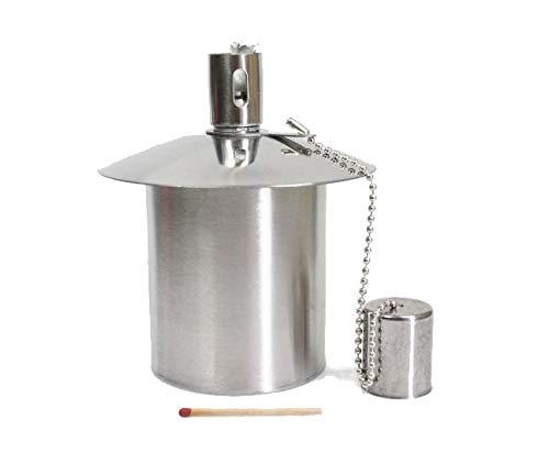 Öllampe Einsatz - Ölbehälter Gartenfackel - aus Edelstahl - ca. 170 CCM Inhal...