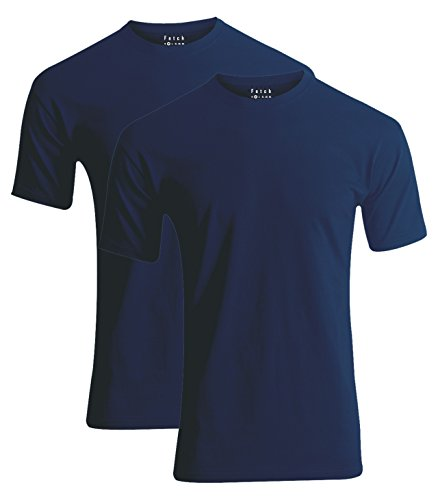 FETCH Herren Basic T-Shirt Rundhalsausschnitt 2er Pack Regular Fit 100% Baumwolle Top Qualität Blau