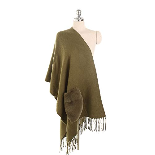 Qpw Lady Schal, warm, im Herbst und Winter gesäumt mit warmen funktionale Tasche Schal, Schal 175 * 52cm - Mit Wollschal Taschen