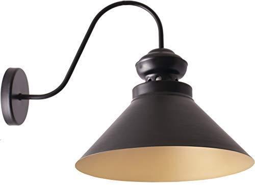Vintage Retro Wandleuchte Loft 19381 Metall Schwarz Gold Ø 33 cm; E27; 1 * 60W Modern Design Wandlampe Minimalistische Wandbeleuchtung Downlighter Schlafzimmer Treppenhaus Wohnzimmer -