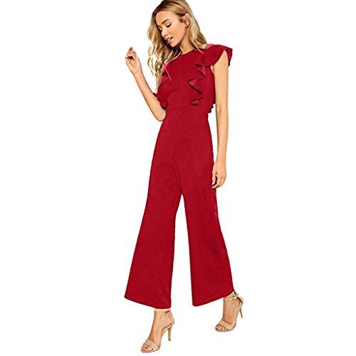 UJUNAOR Jumpsuit Donna Slim Fit Sexy Senza Maniche a Balze Elegante Casual Moda Primavera-Estate 2019 Nuovo Tinta Unita S/M/L/XL/XXL(Medium,Rosso)
