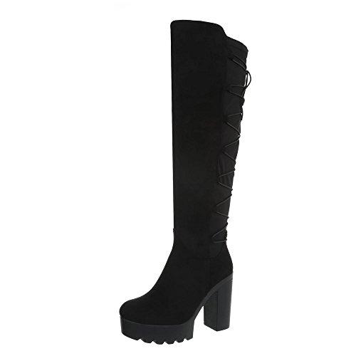 Ital-Design High Heel Stiefel Damen-Schuhe Blockabsatz Heels Reißverschluss Schwarz, Gr 39, Bh86-Hb-