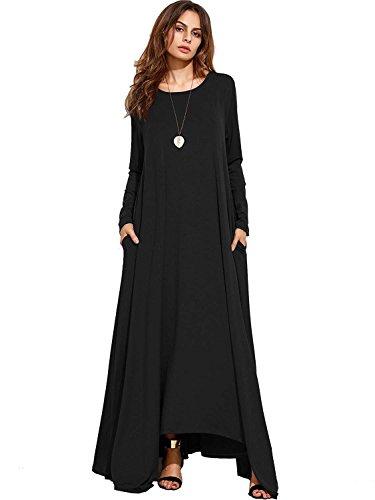 Nasky donna estivi vestiti senza maniche gonna lunga maxi vestito casual scollo v abiti estivo sexy (x-large, l-nero)