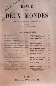 REVUE DES DEUX MONDES du 01-12-1918 LA VICTOIRE PAR RENE DOUMIC DE L'ACADEMIE FRANCAISE - LE RHIN FRANCAIS PAR LOUIS MADELIN - L'OPINION ALLEMANDE PENDANT LA GUERRE - LE REVEIL DES ESPERANCES 1917-1918 PAR ANDRE HALLAYS - FRAGMENTS D'UN JOURNAL INTIME PAR JULES CLARETIE - ELISABETH BREMERTON - TROISIEME PARTIE PAR MRS HUMPHRY WARD - MEDAILLONS DE PEINTRES PAR HENRI DE REGNIER DE L'ACADEMIE FRANCAISE - UN CASTELNAU DU XVIIE SIECLE PAR EDMOND PILON - LES OTAGES FEMININS DANS LES CAMPS DE REPRE...