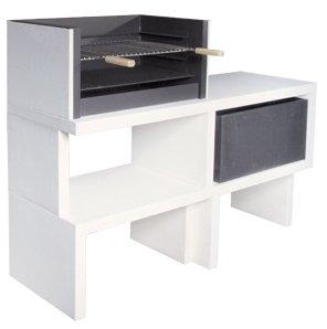 Barbacoa de Obra máximo diseño y calidad,Dehormigón bruto hidrófugo blanco y negro 155 x 52 x 116 cm.