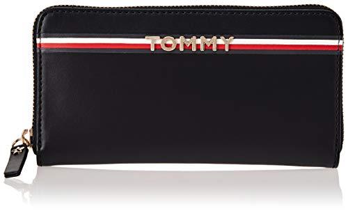 Tommy Hilfiger Damen Corp Leather Za Wallet Geldbörse, Schwarz Navy/Core STP, 2.5x10x20 cm