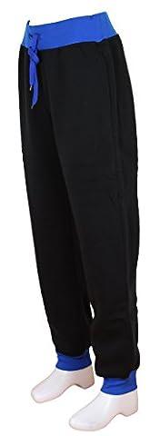 Pantalon Sport Jogging Femme Bi-color Patalon Gym Sweatpant en noir / bleu roy | Taille: XXL
