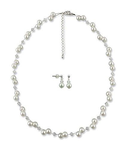 Rivelle Damen Brautschmuck Set Marie Creme Schmuckset Perlen Swarovski kristall Kette Collier Ohrringe Hochzeit Geschenkbox