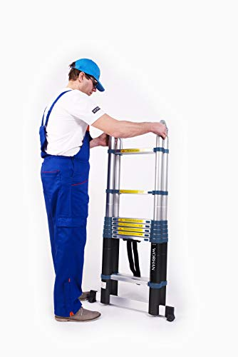 Probably one of the most versatile telescopic ladders on the market. Very rigid compared and stable compared to most models - extends to 5.6 meters and can be folded into step ladders and used on stairs as each side locks independently,
