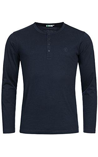 Banqert Herren Longsleeve Chamarel Falls - Männer Shirt-s Jungen Sweatshirt-s - 100Prozent pro-Ability Baumwolle Langarmshirt-s Shirt Langarm- Blau Dunkelblau L -