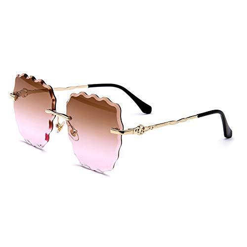 Easy Go Shopping Wave Ocean Sheet Beach Tide Brille Casual Sonnenbrillen New Ladies Fashion Boundless Sonnenbrillen Sonnenbrillen und Flacher Spiegel (Farbe : Pink)