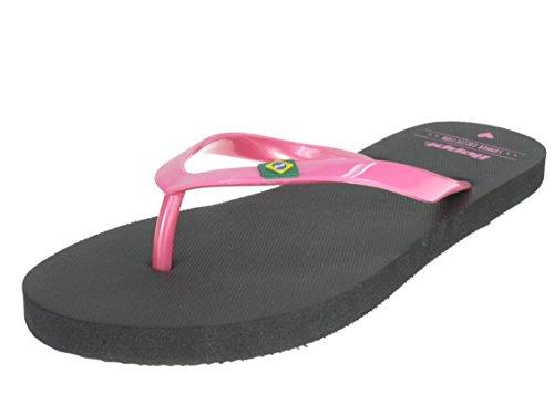 Beppi 213922 Damen Badelatschen Zehentrenner Schwimmbadschuhe Schwarz/Pink