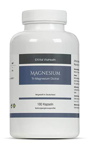Tri-Magnesium Dicitrat- 2010mg Magnesiumcitrat, 322mg elementares Magnesium pro Tagesdosis von EXVital. Hoch konzentriert, 180 Kapseln, Premiumqualität, kein Magnesiumstearat, vegan, 1er Pack (153g)