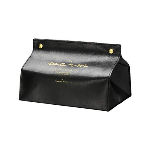 EisEyen Contenedor toalla servilleta soporte de pañuelos Ins nórdico de cuero caja de pañuelos de papel dispensador de papel funda para la decoración del hogar de la Oficina (Negro)