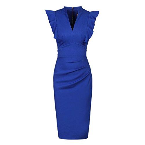 Pretty Kitty Fashion Damen Kleid blau königsblau Gr. L, königsblau (Kleid Pin Wiggle)