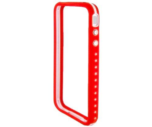 Etuit Coque Housse de Protection Avec Languette en PU Cuir velouté pour Apple iPhone 4 / 4S /4G - Vert Bumper Rigide - Rouge