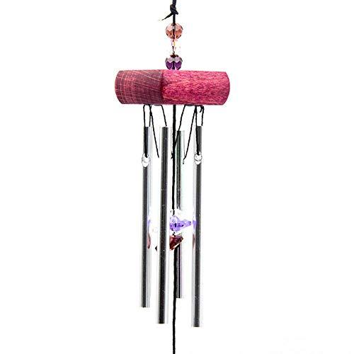 Campanas de viento tubulares Corazón Metal Decoración de jardín Inicio Campanas de viento Decoración Campanas de viento, Deseos Prosperidad: Chino tradicional Increíble 4 tubos 5 campanas y base