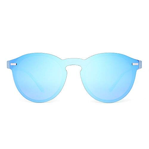 JIM HALO Polarisiert Randlos Sonnenbrille Reflektierend Ein Stück Runde Gespiegelte Brillen Zum Damen Herren(Transparent Blau/Blau)
